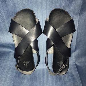 Shoes - Corkys Black Leather Sandal W10